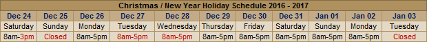 2016/2017 Thanksgiving and Christmas Holiday Range Hours